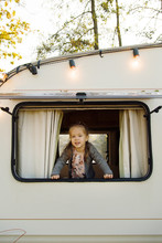Funny Girl Looking Out Camper ...