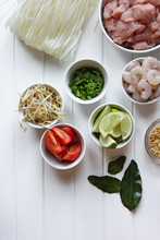 Ingredients For Asian Cooking On A White Background, With Copysp