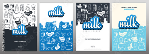 Fotografía Set of Milk banners with hand draw doodle background.