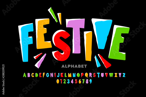 Bright festive style font design, alphabet letters and numbers