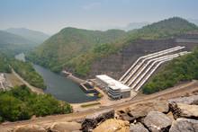 Hydro Power Electric Dam In Thailand, The Large Dam To Generate Electricity,Large Electric Power Dam In Valley Of Western Thailand.Srinagarind Dam In Rainy Season At Kanchanaburi Province Thailand.