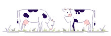 Cows On Pasture Flat Vector Il...