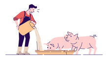 Farmer Feeding Pigs Flat Vecto...