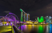 Skyline Of Singapore With Marina Bay, Singapore