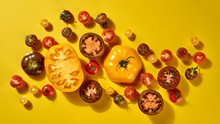 Fresh Vegetable Pattern With Ripe Tomatoes Different Shapes And