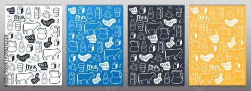 Carta da parati Set of Milk backgrounds. Hand draw milk icon set.