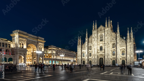 Recess Fitting Milan Milan Cathedral or Duomo di Milano at night, Italy. This place is a top landmark of the Milan. Panorama of the famous Milan city center at dusk. Long exposure of main Milan square with blurred people.