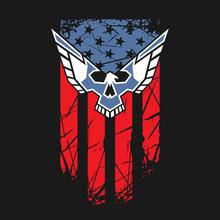USA Flag With Eagle And Skull
