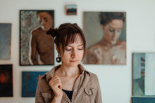 Portrait Of A Female Painter In Her Studio