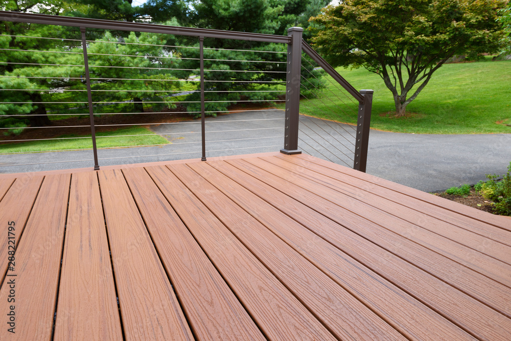 Fototapety, obrazy: Composite Wood Deck with Metal Railing