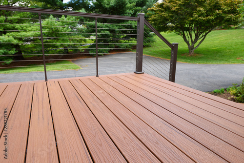 Fototapeta Composite Wood Deck with Metal Railing obraz