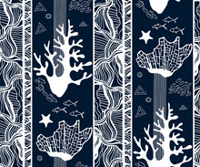 Hand Drawn Underwater Natural Ocean And Ornamental Elements. Seamless Pattern With Reef Corals. Vector Sketch