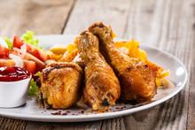 Grilled Chicken Drumsticks Wit...