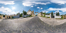 Full Spherical Seamless Hdri Panorama 360 Degrees Near Gate Of Old Gothic Uniate Of St. George Cathedral In Equirectangular Projection, VR AR Content With Zenith And Nadir