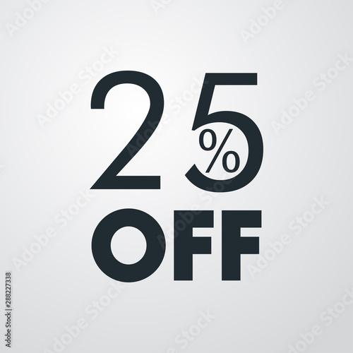 Photo Logotipo con texto 25 por ciento con OFF horizontal en fondo gris