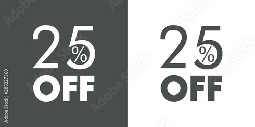 Logotipo con texto 25 por ciento con OFF horizontal en gris y blanco Canvas Print
