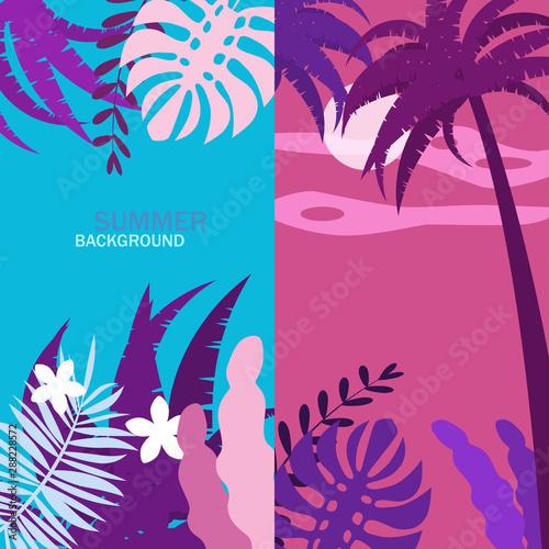 Poster Violet Set of summer backgrounds floral exotic plants leaves