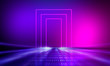 Leinwanddruck Bild -  Ultraviolet abstract light. Diode tape, light line. Violet and pink gradient. Modern background, neon light. Empty stage, spotlights, neon. Abstract light.