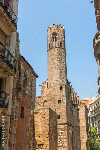 Barcelona: medieval Tower of Santa Agata Chapel Canvas Print