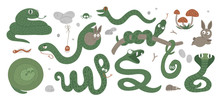 Vector Set Of Cartoon Style Hand Drawn Flat Funny Snakes In Different Poses. Cute Illustration Of Woodland Animals For Children's Design. Forest Serpents Picture.