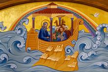 Secovska Polianka, Slovakia. 2019/8/22. The Icon Of The Noah's Ark. Part Of The Iconostasis In The Greek Catholic Church Of Saint Elijah.