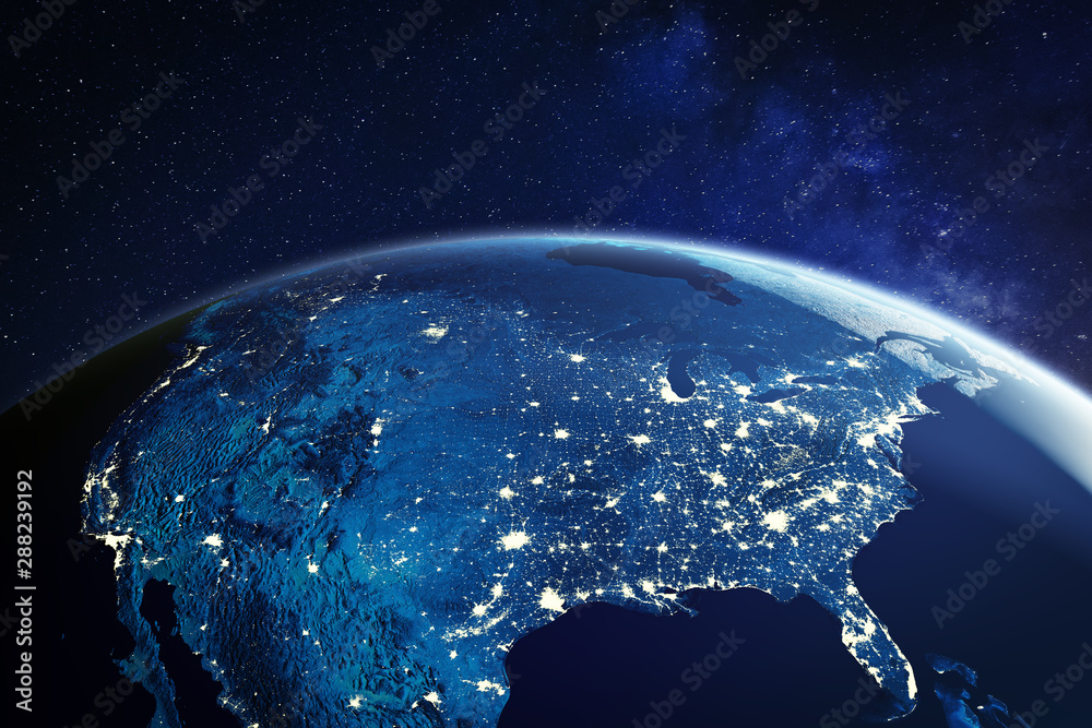 Fototapety, obrazy: USA from space at night with city lights showing American cities in United States, global overview of North America, 3d rendering of planet Earth, elements from NASA
