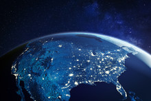 USA From Space At Night With C...
