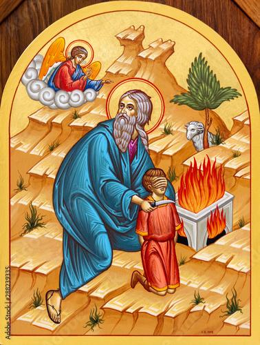 Secovska Polianka, Slovakia. 2019/8/22. The icon of Abraham about to sacrifice His son Isaac on the Mount Moriah. The church of Saint Elijah.  Fotomurales