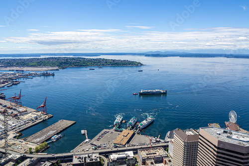 SEATTLE, WASHINGTON - May 19, 2017: Logging was Seattle's first major industry, but this has long been replaced by shipping, tourism, technology, and music, and has a strong counter-culture presence Canvas Print