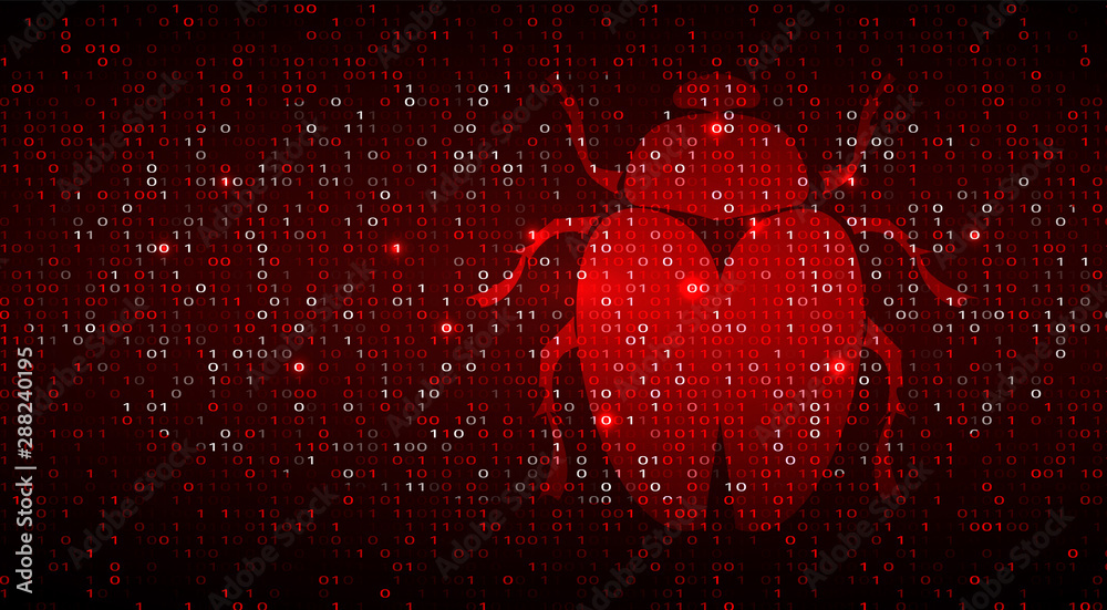 Fototapeta Digital Binary Code on Dark Red BG with Bug