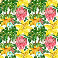 Watercolor summer seamless pattern with tropical plants and leaves on white background. Hand painted palm treese, king protea, yellow lily, plumeria flowers. Botanical hawaiian print, wallpapers.