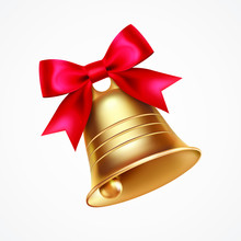 Golden Metal Bell With Red Bow...