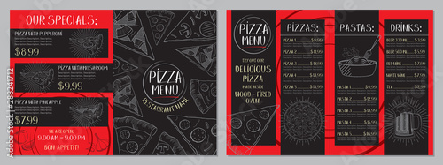 Obraz Pizza restaurant menu - A4 card - fototapety do salonu