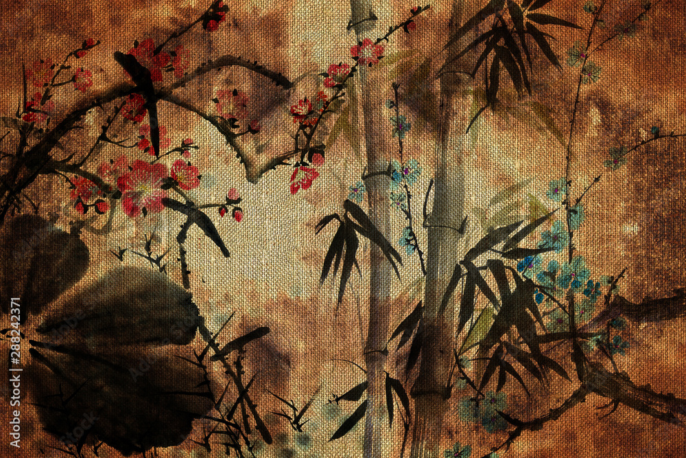 3d wallpaper, butterflies, Chinese nature painting, old canvas textures. Murals effect.