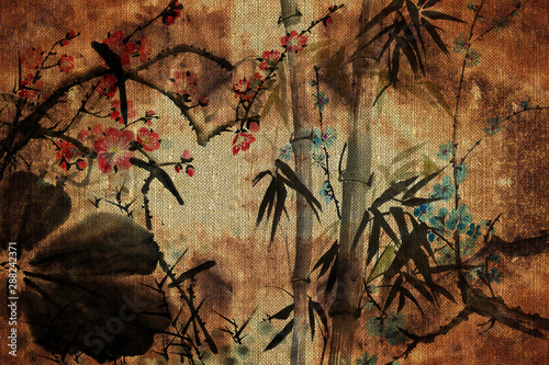 Fotobehang Vlinders in Grunge 3d wallpaper, butterflies, Chinese nature painting, old canvas textures. Murals effect.