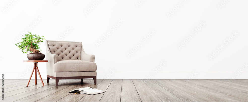 Fototapeta Modern interior design with white empty mock-up wall and beige armchair 3D Rendering