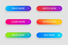 Set Of Trendy Action Button For Web, Mobile App.Template Gradient Navigation Button Menu.Gradient Icon For Shop, Game, Banner.Button Collection. Vector Illustration