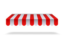Red And White Sunshade For Marketplace Or Shop. Open Awning With Striped Canvas For Circus Or Store.Red Canopy For Cafe On Isolated Background. Vector