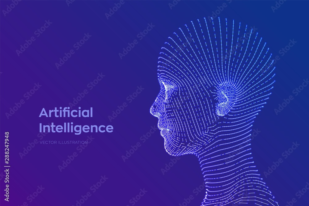 Fototapeta AI. Artificial intelligence concept. Ai digital brain. Abstract digital human face. Human head in robot digital computer interpretation. Robotics concept. Wireframe head concept. Vector illustration.