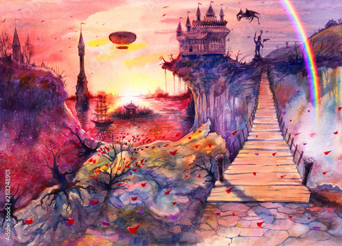 Spoed Fotobehang Aubergine Drawing art beautiful sea sunset landscape, watercolor painting castle, rocks, cliffs, dragon, rainbow, Crimea bridge, hand drawn painting is made by watercolor on white paper, romantic background