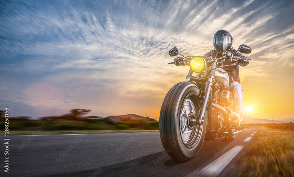 Fototapety, obrazy: motorbike on the road riding. having fun driving the empty highway on a motorcycle tour journey
