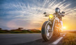 canvas print picture - motorbike on the road riding. having fun driving the empty highway on a motorcycle tour journey