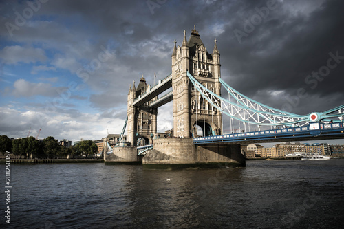 Tower Bridge in London at very cloudy day