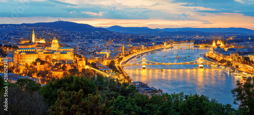 Budapest city and Danube river, Hungary Wallpaper Mural