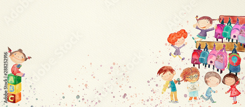 Kindergarten. Watercolor banner for children - 288252916