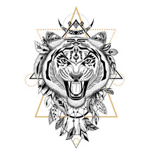 Textured Tiger In Aztec Style