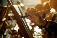 Artist Brush On Canvas