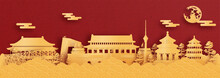 Panorama Postcard And Travel Poster Of World Famous Landmarks Of Beijing, China In Paper Cut Style Vector Illustration