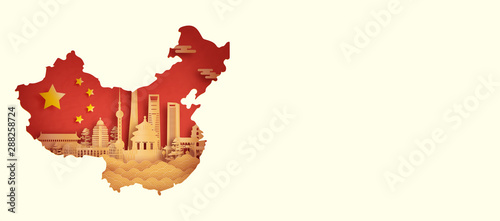 Photo  China flag with world famous landmarks Shanghai in paper cut style vector illust