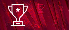 Trophy Icon Abstract Design Bright Red Banner Background